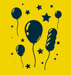 celebration balloons and stars on yellow vector image vector image