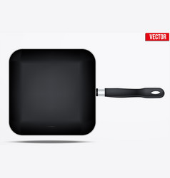 classic metal square fry pan vector image vector image