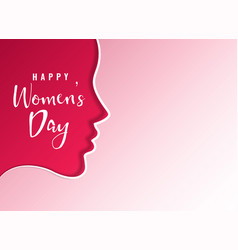 Clean happy womens day card design with female vector