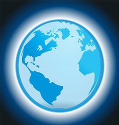 Dark Blue Background with Globe and Light vector image vector image