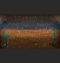 Desert scene on rainy day vector