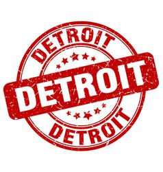 Detroit red grunge round vintage rubber stamp vector