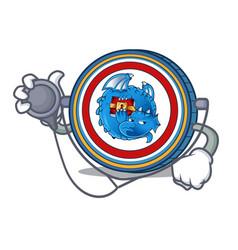Doctor dragonchain coin character cartoon vector