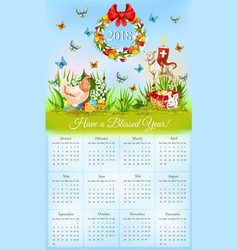 Easter calendar with banner of holiday symbols vector