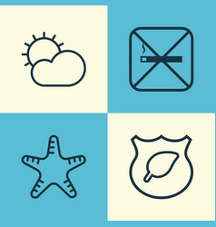 Eco icons set collection of clear climate sea vector