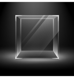 Empty glass box cube on background with backlight vector