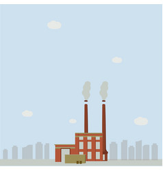 Factory emit smoke in cities vector
