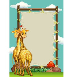 Frame design with two giraffes vector