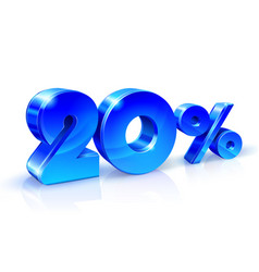 Glossy blue 20 twenty percent off sale isolated vector