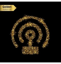 Gold glitter icon of wifi isolated on vector image vector image
