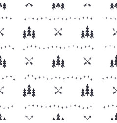 hand drawn seamless pattern with christmas tree vector image vector image