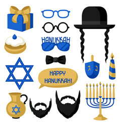 Happy hanukkah photo booth stickers accessories vector