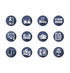 hospital blue flat icons set vector image