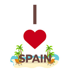 i love spain travel palm summer lounge chair vector image