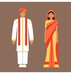 Indian man and woman in traditional clothes vector
