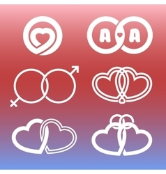 Isolated outlined hearts and rings logo set vector image vector image