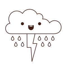 kawaii cloud with rain and thunderbolt in vector image