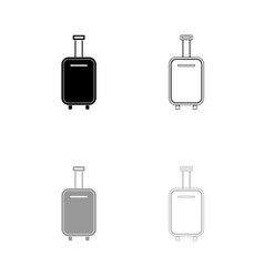 luggage bag black and grey set icon vector image