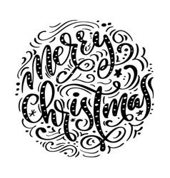 merry christmas black handwritten text hand drawn vector image