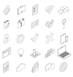Office equipment icons set isometric 3d style vector image