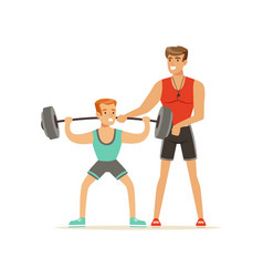 professional fitness coach man exercising with a vector image