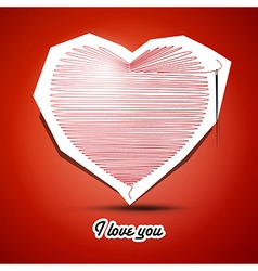red string heart with needle on the end and I love vector image