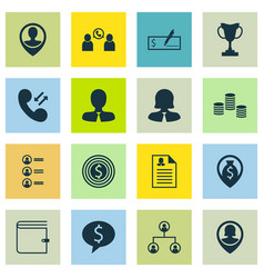 Set of 16 hr icons includes tournament business vector