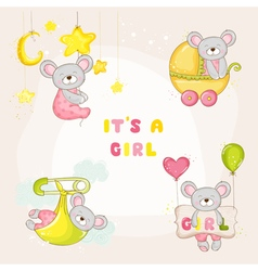 Set of Baby Mouse for Baby Shower or Arrival Card vector image