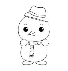 Snowman with christmas hat kawaii character vector