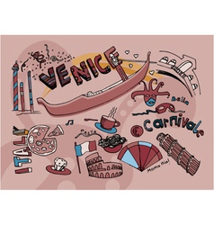 venice doodles vector image vector image
