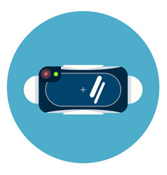 virtual reality 3d glasses icon on blue round vector image
