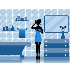 woman in bathroom vector image vector image
