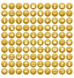100 war icons set gold vector