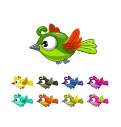 Little cute cartoon flying birds set vector image