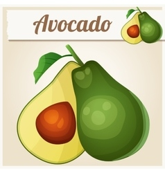 Avocado cartoon icon vector