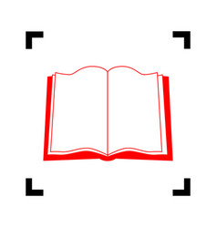 book sign  red icon inside black focus vector image