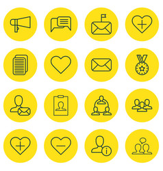 Set of 16 communication icons includes online vector