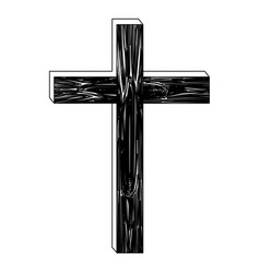 black silhouette of wooden cross vector image
