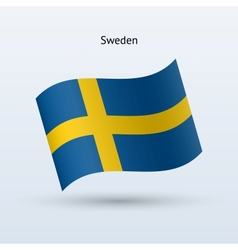 Sweden flag waving form vector image