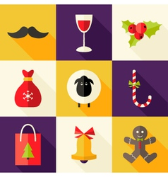 9 Christmas Flat Icons Set 2 vector image