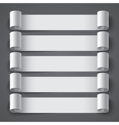 Curled blank paper stripe banners with shadows on vector