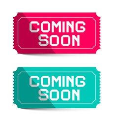 Coming soon pink and blue paper tickets isolated vector