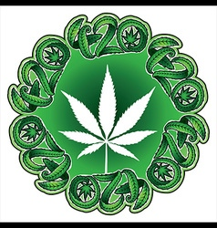 Marijuana leaf silhouette design stamp vector