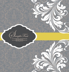 Gray invitation with white floral elements vector