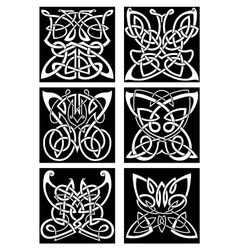 Tribal tattoos with celtic ornamental butterflies vector