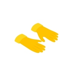 Yellow rubber gloves icon isometric 3d style vector
