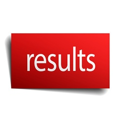 Results red paper sign on white background vector