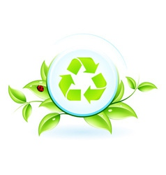 Recycling symbol with leaves vector