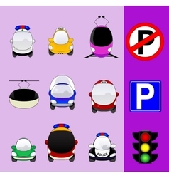 Set of various city traffic vehicles icons vector