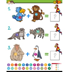 Addition educational activity vector
